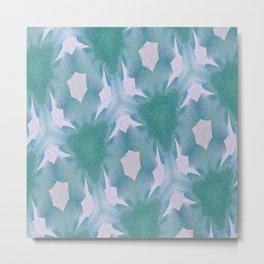 Geometric Floral Design - Blue Metal Print