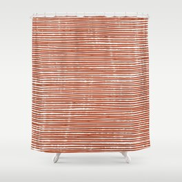 Rustic, Abstract Stripes Pattern in Terracotta Shower Curtain
