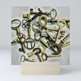 Vintage Skeleton Key Photograph Series Photo 3 – Metallic Gold - by Jéanpaul Ferro Mini Art Print