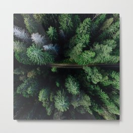 Aerial Forest Green Trees Metal Print