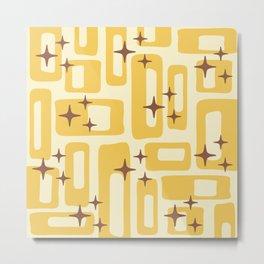 Retro Mid Century Modern Abstract Pattern 577 Yellow Brown Metal Print