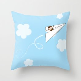 Paper Aeroplane Pilot Throw Pillow