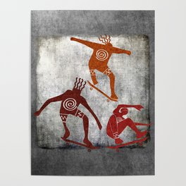 Skateboard Petroglyph Poster
