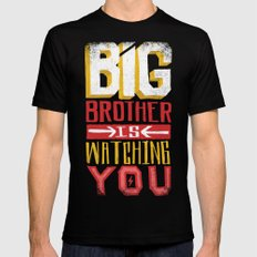 BIG BROTHER IS WATCHING YOU SMALL Mens Fitted Tee Black