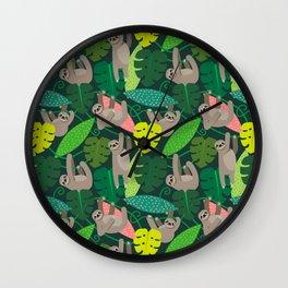 Jungle Sloths Wall Clock