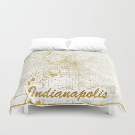 Indianapolis Map Gold Duvet Cover