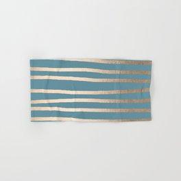 Abstract Drawn Stripes Gold Tropical Ocean Blue Hand & Bath Towel