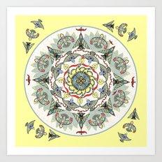 Circling Birds Mandala Art Print