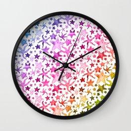 Rainbow Starfish Pattern Wall Clock