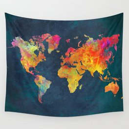 world map colors #map #maps #colors Wall Tapestry