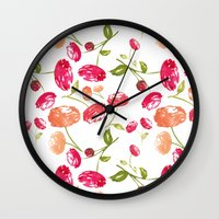 peonies Wall Clocks featuring Peonies by viktoria.rodek