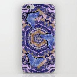 Butterflies against an abstract floral kaleidoscope iPhone Skin