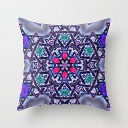 Silver Merkabah Mandala Throw Pillow