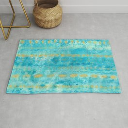 Gold in Deep Turquoise watercolor art Rug