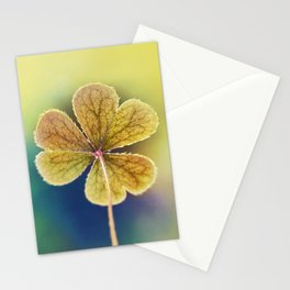 Heart-shaped Clover Oxalis Macro. St Patrick's Day Stationery Cards