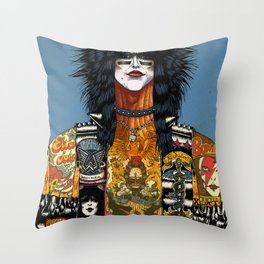 Portrait of Nikki Sixx Throw Pillow