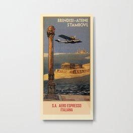 Italian vintage plane travel Brindisi Athens Istanbul Metal Print