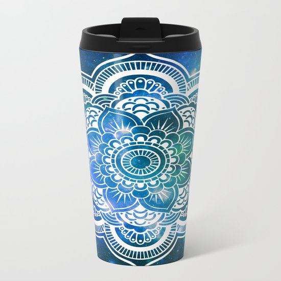 Mandala : Blue Green Galaxy Metal Travel Mug