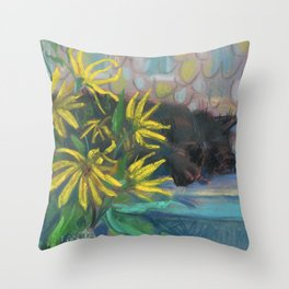 Topinambur Dreams, Impressionism Still Life, Black Cat & Yellow Sunroot Flowers Throw Pillow