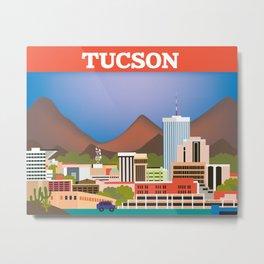 Tucson, Arizona - Skyline Illustration by Loose Petals Metal Print