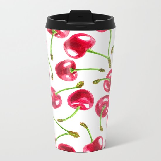 Watercolor cherries pattern Metal Travel Mug