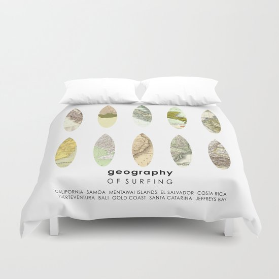 Geography of surfing Duvet Cover