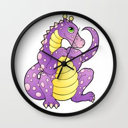 Pink and Purple Dragon Wall Clock