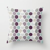 honeycomb Throw Pillows featuring Honeycomb by Kathrin Legg