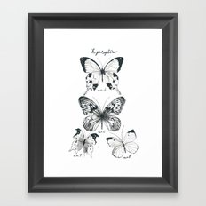Lepidoptera Study Black & White Butterflies Framed Art Print