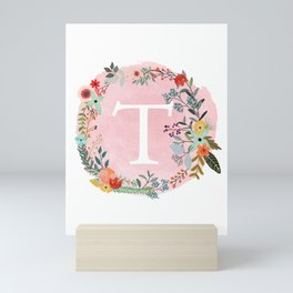 Flower Wreath with Personalized Monogram Initial Letter T on Pink Watercolor Paper Texture Artwork Mini Art Print