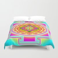chakra Duvet Covers featuring Shri Chakra by Artisticcreationsusa