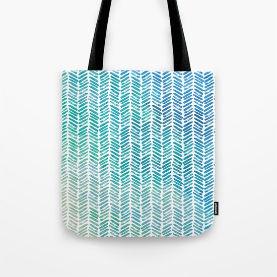 Handpainted Herringbone Chevron pattern-small-aqua watercolor on white Tote Bag