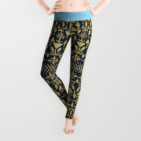 Norwegian Pattern – Gold on Navy Leggings