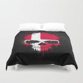 Flag of Denmark on a Chaotic Splatter Skull Duvet Cover