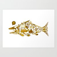 cyberpunk Art Prints featuring Cyberpunk fish by Oceloti