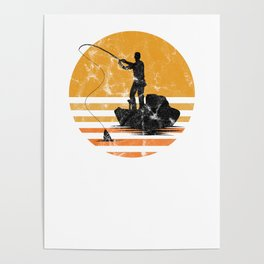 Distressed Vintage Fly Fishing Fisher Fisherman Sailor Fish Lovers Gift Poster