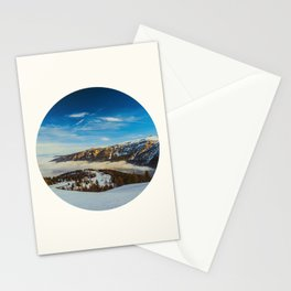 Mid Century Modern Round Circle Photo Rolling Snow Hills Distant Mountains Stationery Cards