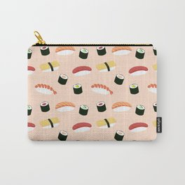 Lovely Japanes sushi drawing illustration on pastel background. Maki ands rolls with tuna, salmon, shrimp, crab. Carry-All Pouch