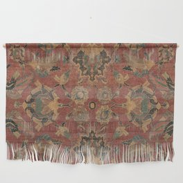 Flowery Boho Rug V // 17th Century Distressed Colorful Red Navy Blue Burlap Tan Ornate Accent Patter Wall Hanging