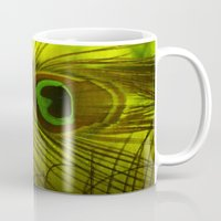 peacock feather Mugs featuring Peacock Feather by TaLins