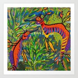 Weedy Seadragons Art Print