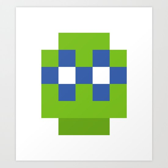 hero pixel green blue Art Print
