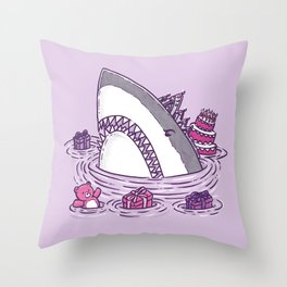 Birthday Princess Shark Throw Pillow