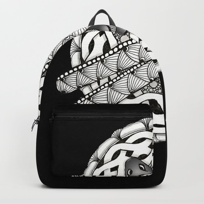 Zentangle Dragonfly Black and White Illustration Backpack
