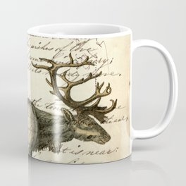 western country primitive christmas mountain animal wildlife winter pine tree elk Coffee Mug