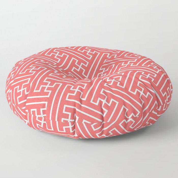 Lattice - Coral Floor Pillow