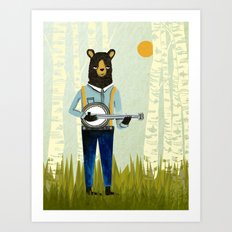 Bear's Bourree - Bear Playing Banjo Art Print