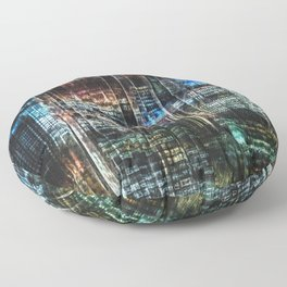 Colorful Buildings At Night Floor Pillow