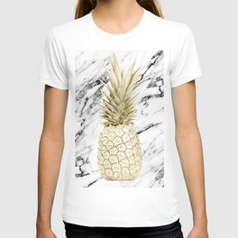 Gold Pineapple on Marble T-shirt