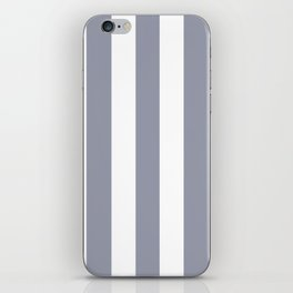 Manatee grey - solid color - white vertical lines pattern iPhone Skin